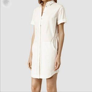 All Saints Calla White Cotton Shirt Dress